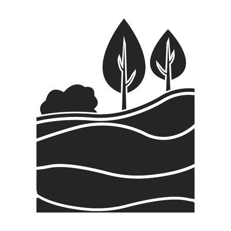 Les couches de l'icône de la terre dans le style noir isolé sur fond blanc. L'illustration vectorielle du symbole de la mine.