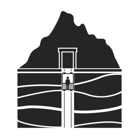 shaft: Mine shaft icon in black style isolated on white background. Mine symbol vector illustration.