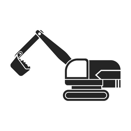 earth mover: Excavator icon in black style isolated on white background. Mine symbol vector illustration.
