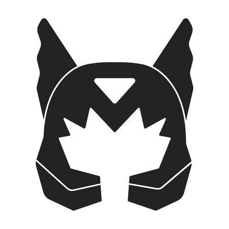 Superheros helmet icon in black style isolated on white background. Superheros mask symbol vector illustration.