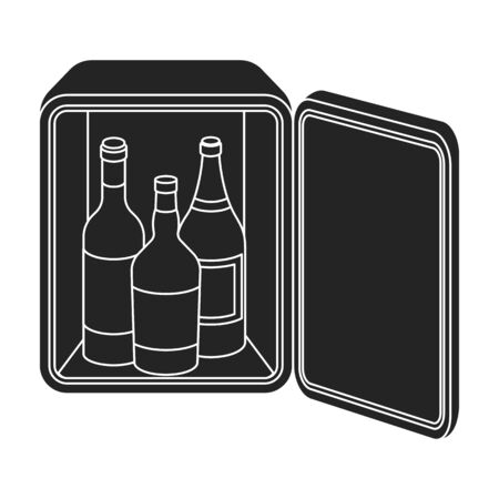 minibar: Mini-bar icon in black style isolated on white background. Hotel symbol vector illustration. Illustration