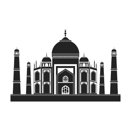 Taj Mahal icon in black style isolated on white background. India symbol vector illustration.