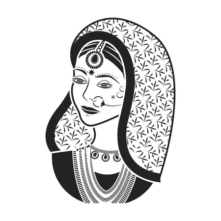 Indian woman icon in black style isolated on white background. India symbol vector illustration.