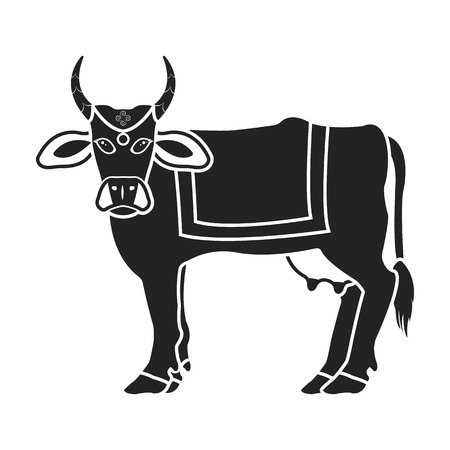 Sacred cow icon in black style isolated on white background. India symbol vector illustration.