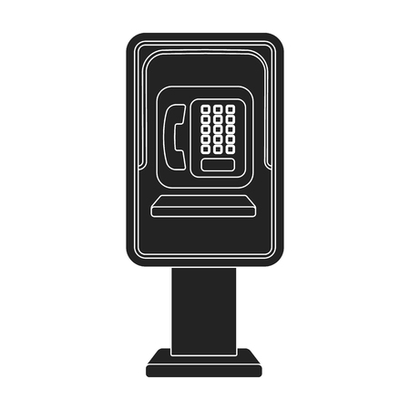 corded: Payphone icon in black style isolated on white background. Park symbol vector illustration.
