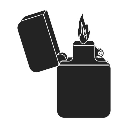 gas lighter: Lighter icon in black style isolated on white background. Light source symbol vector illustration Illustration