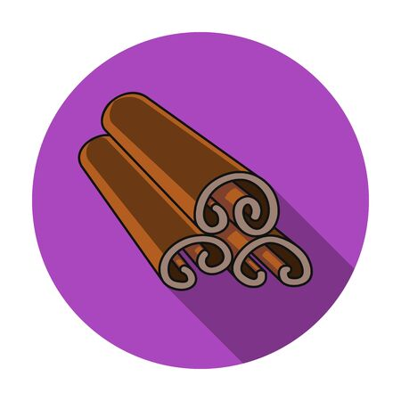 Cinnamon icon in flat style isolated on white background. Herb an spices symbol vector illustration.