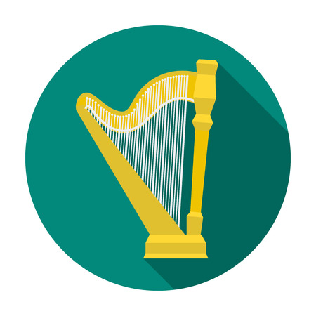 Harp icon in flat style isolated on white background. Musical instruments symbol vector illustration Illustration