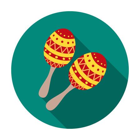 Maracas icône dans un style plat isolé sur fond blanc. Instruments de musique symbole illustration vectorielle