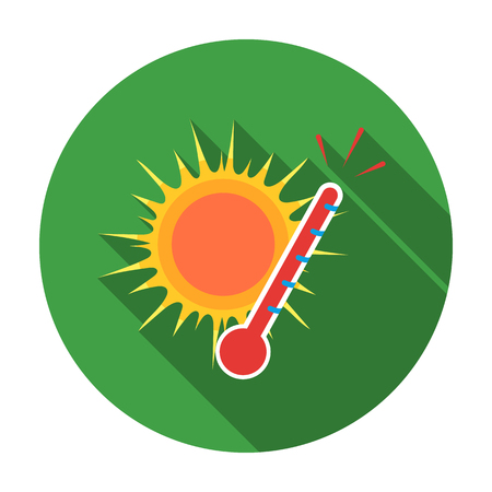 Heat icon in flat style isolated on white background. Weather symbol vector illustration.