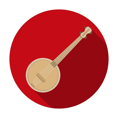 resonator: Banjo icon in flat style isolated on white background. Musical instruments symbol vector illustration Illustration