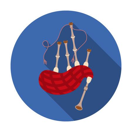 gaita: icono de la gaita en el estilo plano aislado en el fondo blanco. Instrumentos musicales ilustración vectorial símbolo
