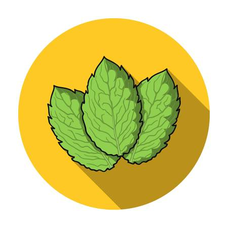 Mint icon in flat style isolated on white background. Herb an spices symbol vector illustration. Illustration