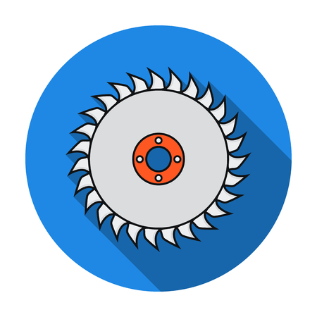 cutoff blade: Saw disc icon in flat style isolated on white background. Sawmill and timber symbol vector illustration.