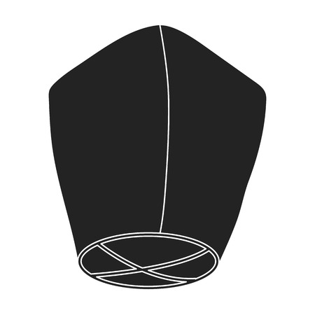 Sky lantern icon in black style isolated on white background. Light source symbol vector illustration