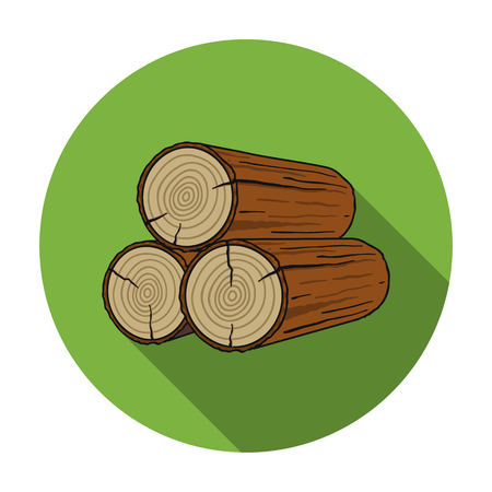 logging: Stack of logs icon in flat style isolated on white background. Sawmill and timber symbol vector illustration.