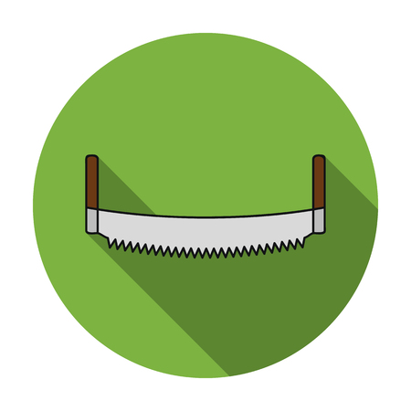 crosscut: Two-man saw icon in flat style isolated on white background. Sawmill and timber symbol vector illustration.