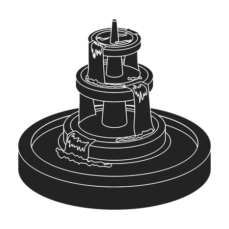 Fountain icon in black style isolated on white background. Park symbol vector illustration.