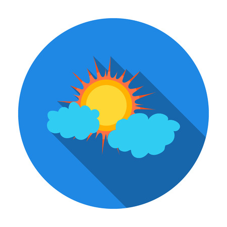 partly sunny: Cloudy weather icon in flat style isolated on white background. Weather symbol vector illustration.