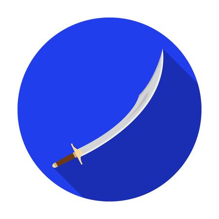 scimitar: Kilij icon in flat style isolated on white background. Turkey symbol vector illustration. Illustration