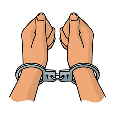 detention: Hands in handcuffs icon in cartoon style isolated on white background. Crime symbol vector illustration. Illustration