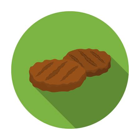 meats: Grilled patties icon in flat style isolated on white background. Meats symbol vector illustration Illustration