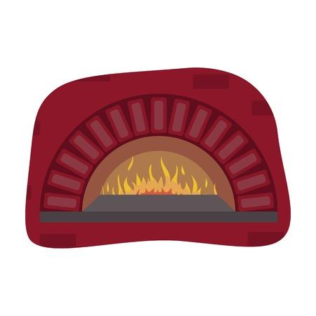 Bois-feu icône du four dans le style de dessin animé isolé sur fond blanc. Pizza et symbole pizzeria illustration vectorielle. Vecteurs