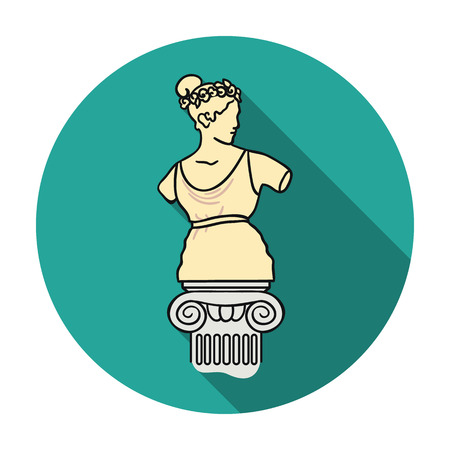 Statue icon in flat style isolated on white background. Museum symbol vector illustration.