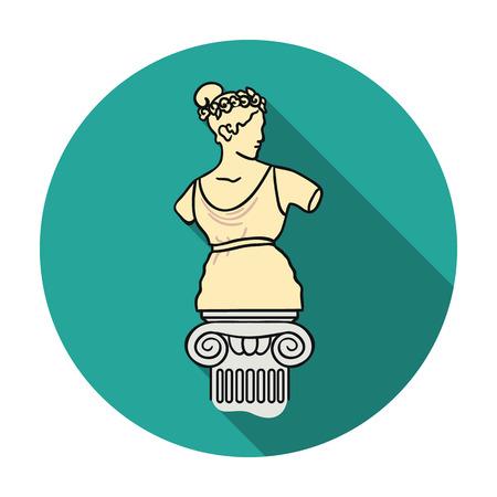 Icona della statua in stile piano isolato su priorità bassa bianca. Illustrazione vettoriale simbolo del Museo.