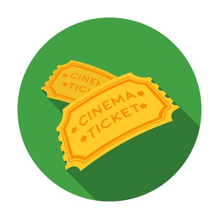 Ticket icon in flat style isolated on white background. Films and cinema symbol vector illustration.