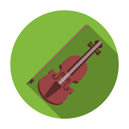 Violin icon in flat style isolated on white background. Musical instruments symbol vector illustration