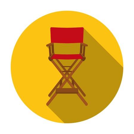icono de la silla de director en el estilo plano aislado en el fondo blanco. Las películas y la ilustración vectorial símbolo de cine.