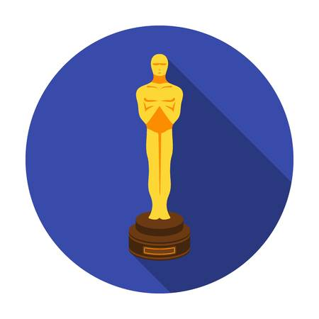 Academy award icon in flat style isolated on white background. Films and cinema symbol vector illustration.