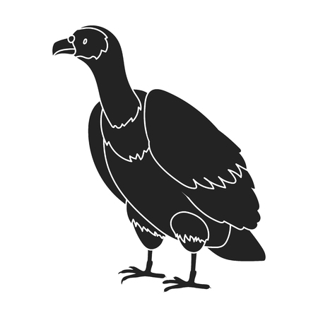 vulture: Vulture icon in black style isolated on white background. Bird symbol vector illustration.