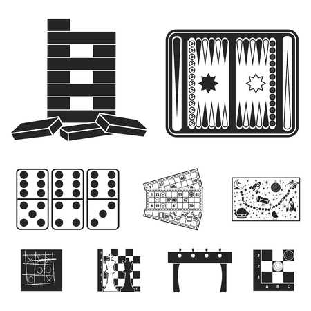 backgammon: Board games set icons in black style. Big collection of board games vector symbol stock