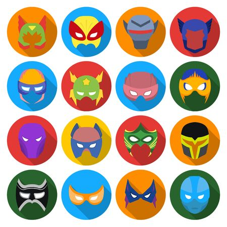 superheros: Superhero mask set icons in flat style. Big collection of superhero mask vector symbol stock