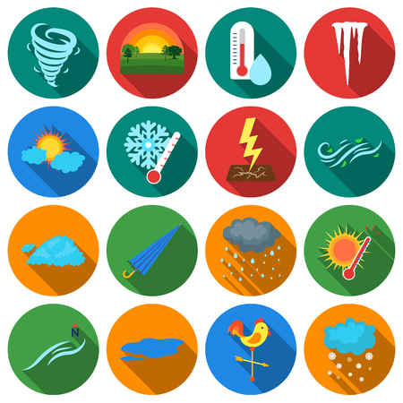 icicles: Weather set icons in flat style. Big collection of weather vector symbol stock