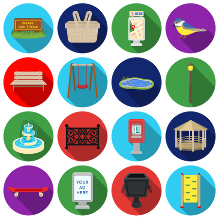 parus: Park set icons in flat style. Big collection of park vector symbol stock