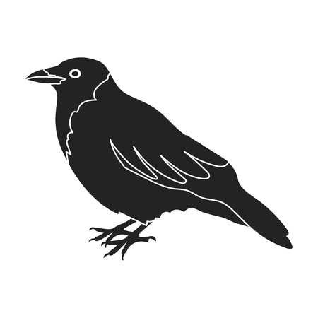 corvus: Crow icon in black style isolated on white background. Bird symbol vector illustration.