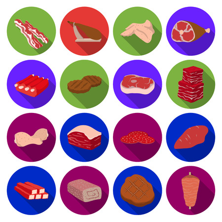 meats: Meats set icons in flat style. Big collection of meats vector symbol stock