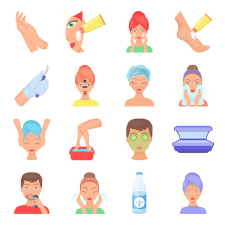 Skin care set icons in cartoon style. Big collection of skin care vector symbol stock