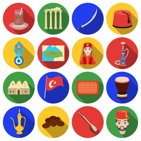 saz: Turkey set icons in flat style. Big collection of Turkey vector symbol stock