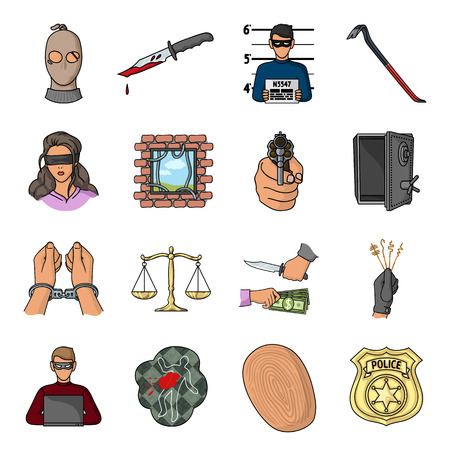 crowbar: Crime set icons in cartoon style. Big collection of crime vector symbol stock