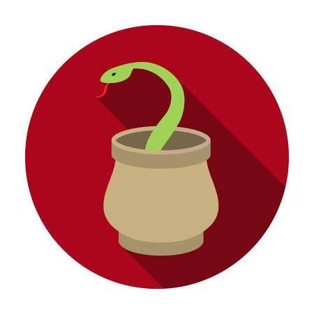 Snake in basket icon in flat style isolated on white background. Arab Emirates symbol vector illustration.