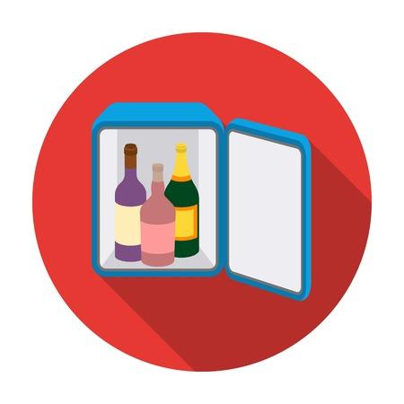 minibar: Mini-bar icon in flat style isolated on white background. Hotel symbol vector illustration. Illustration