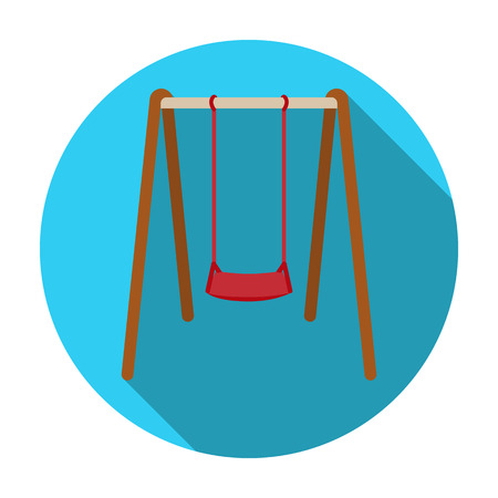 chain swing ride: Swing seat icon in flat style isolated on white background. Park symbol vector illustration.