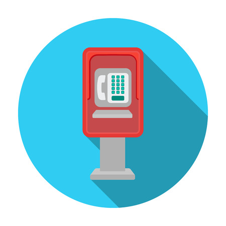 payphone: Payphone icon in flat style isolated on white background. Park symbol vector illustration. Illustration