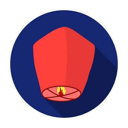 sky lantern: Sky lantern icon in flat style isolated on white background. Light source symbol vector illustration