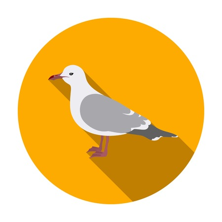 Seagull icon in flat style isolated on white background. Bird symbol vector illustration.