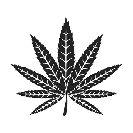 on white: Marijuana leaf icon in black style isolated on white background. Drugs symbol vector illustration.